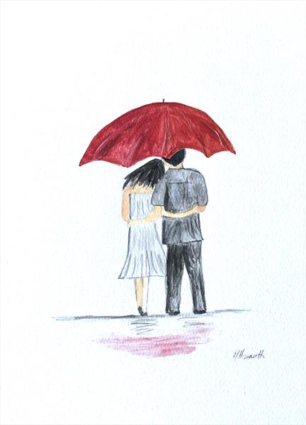 Love couple with red umbrella nr 10 by Monika Howarth
