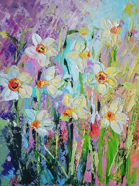 NARCISSUS; ORIGINAL PALETTE KNIFE OIL PAINTING by Alena Shymchonak