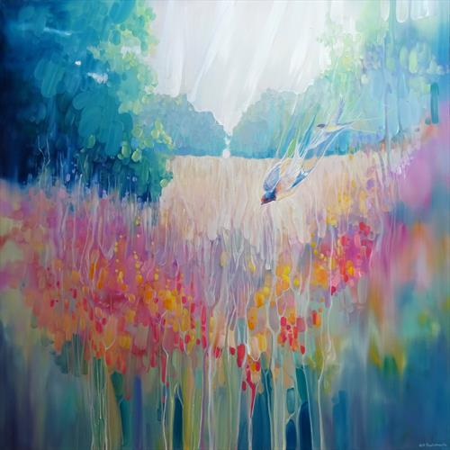 Summer Playground a summer meadow with wildflowers and swallows by Gill Bustamante