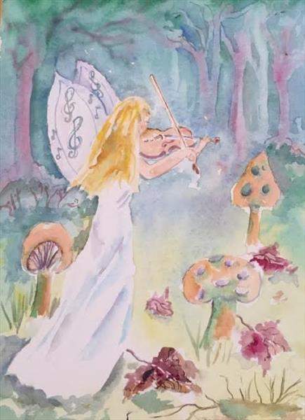 'Music in the Woods'a  beautiful original,signed watercolour painnnnting. by Beth Neal