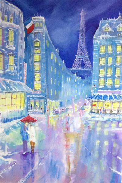 Midnight in Paris (large original canvas) by David King