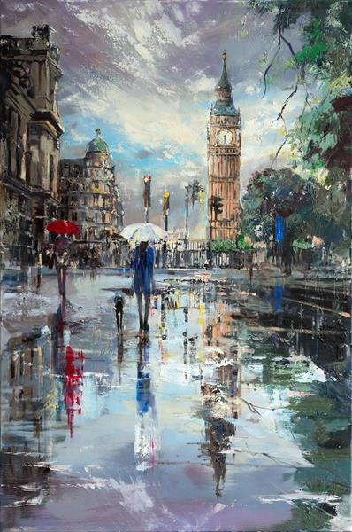 'LONDON REFLECTIONS' ORIGINAL OIL PAINTING ON CANVAS READY TO HANG by Eva Czarniecka