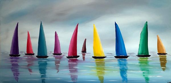 Stormy Colourful Sails 3 by Aisha Haider
