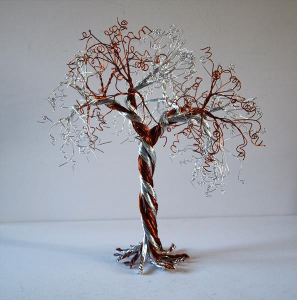 Silver & Caramel, Wire, Tree sculpture by Steph Morgan