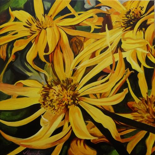 Yellow Flowers In The Summer Border by Joseph Lynch