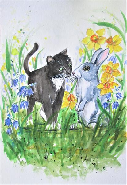 Cat and Rabbit, daffodils and Blue Bells by marjansart by Marjan's Art