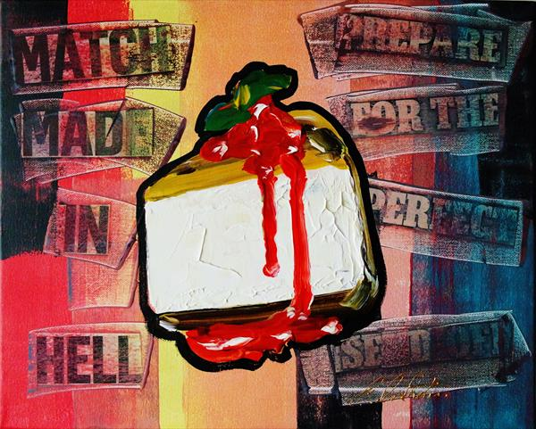 Cheese Cake Strawberry sauce with Mint POP-ART 0521 by Eraclis Aristidou