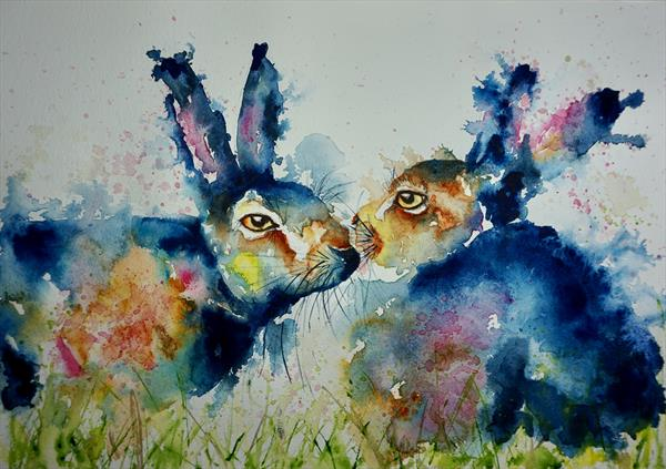 Blue kissing Hares by Anna Pawlyszyn