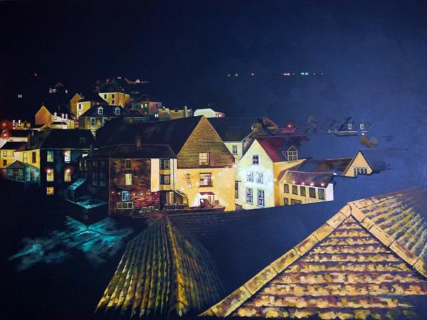 Port Isaac At Night. by Nancy Robertson