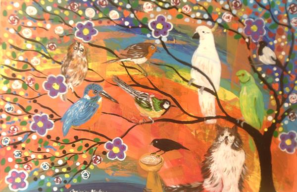 The Colourful Bird Tree and the fluffy Cat by Casimira Mostyn
