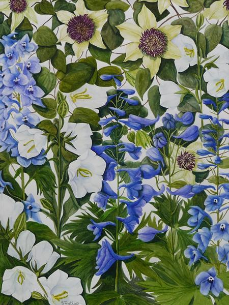 Clematis and Delphiniums by Susan Prothero
