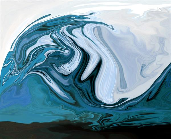 Ocean Blue Glass Art by Pauline Thomas