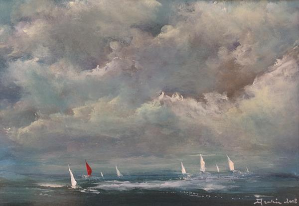 Seascape ~ Red Sail  by Maxine Martin