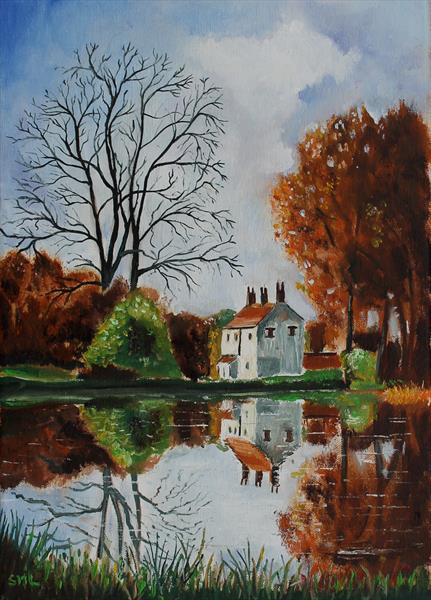 Cottage reflection by Stephen Michael Law