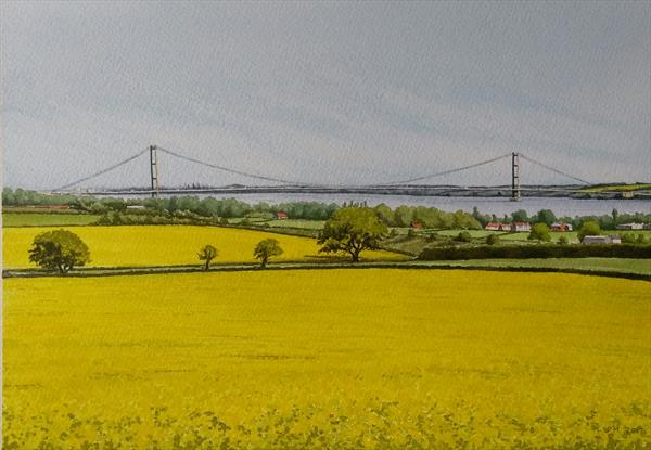 Humber Bridge from the Yorkshire Wolds. by Peter Marshall