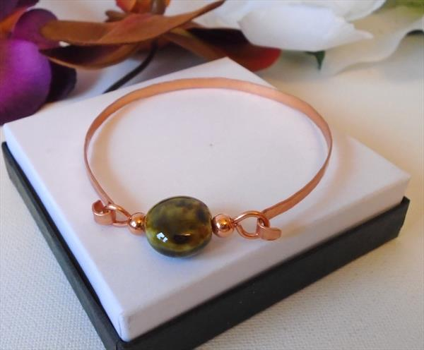 Handmade Hammered Copper Bracelet with Olive Green Marbled Ceramic Link by Brenda Newton