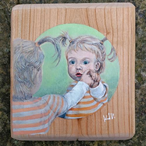 Small Wood Painting - Sweetheart in Mirror by Karl Vang