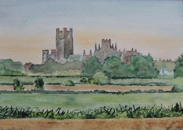 Ely Cathedral From Across The Fens, Cambridgeshire by Elizabeth Sadler
