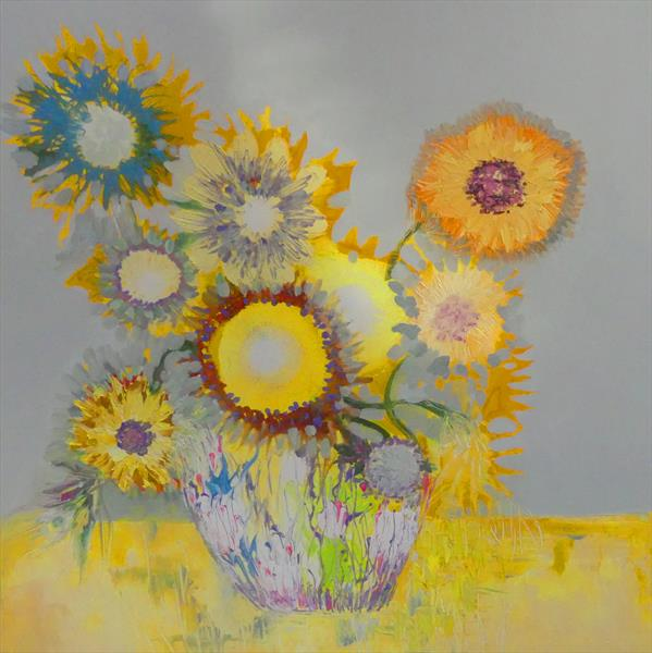 Sunflowers in a Vase by Lesley Blackburn