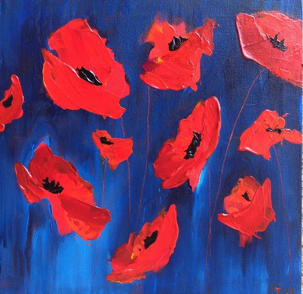 Wind Rush Poppies by Gill Masters