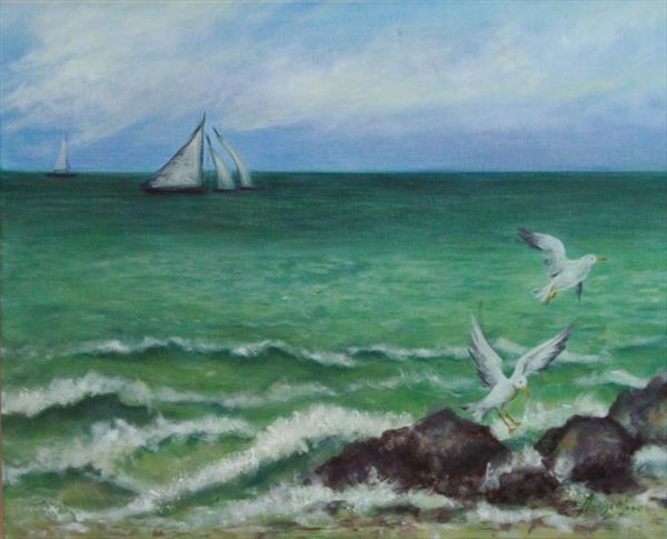 Brighton Rocks - Seascape with Gulls  by Jane Moore