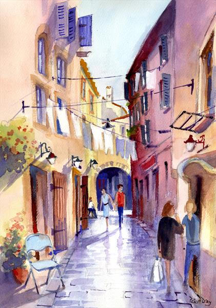 Quiet Street, Rovinj, Croatia. Buildings and People by Peter Day