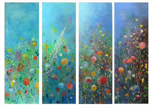 Flowers on Blue by Tracey Unwin