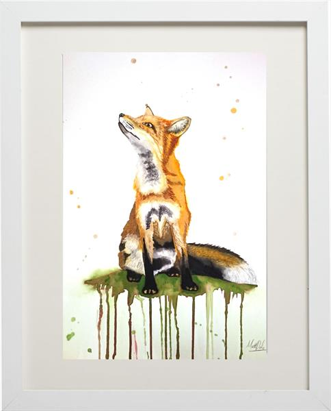 Fox Watercolour Framed Painting by Matt Dale