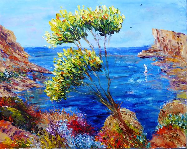 View from the hill, Spanish coast by Mary Ann Day