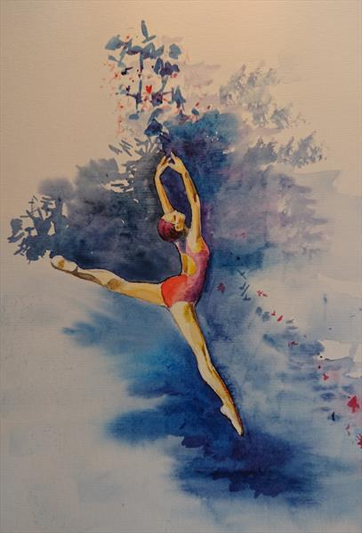 Ballerina fly jump light shade Winsor & Newton Professional Water Colour Oil Acrylic painting boar by Elena Haines