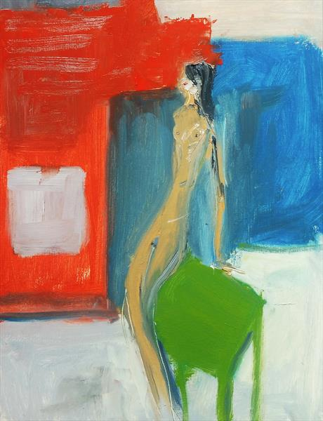 GIRL NUDE LEAN GREEN. Original Oil Figurative Painting. Varnished.  by Tim Taylor