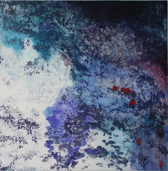 The Blaze of Rhododendron, Kenwood, London - Oil, pigment on canvas - ready to hang. by Marianne Nix Art