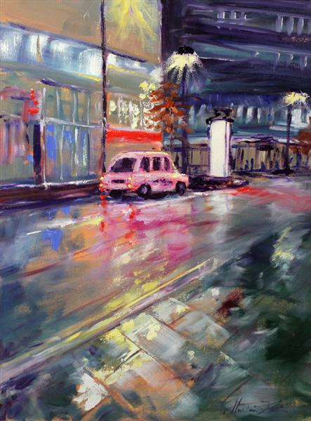 Manchester Night: Pink Taxi by Margaret Raven