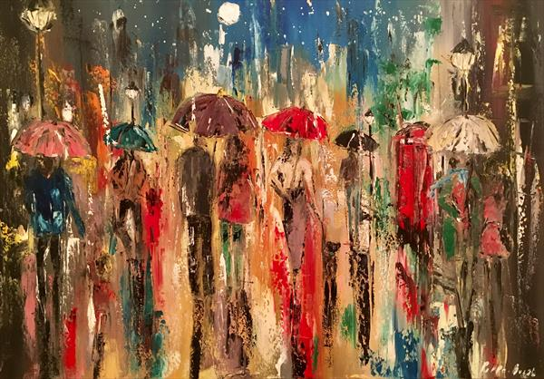 Moon at night in the city of rain  by Pippa Buist