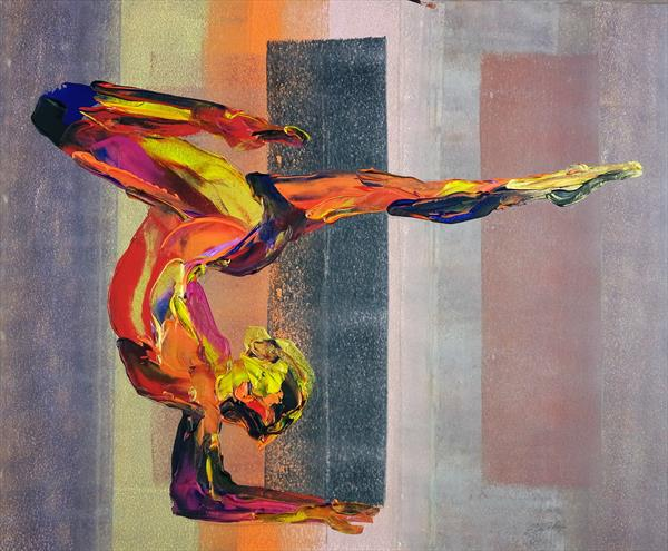 Yoga Nude Pose Abstract 667 by Eraclis Aristidou