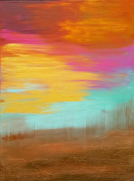 Without the leaves - XL colorful abstract landscape by Ivana Olbricht