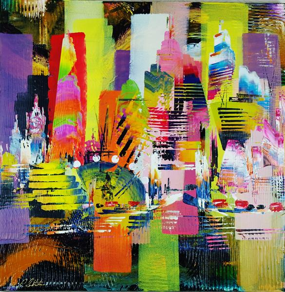 City of London Skyline abstract painting 973 by Eraclis Aristidou