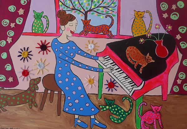The Eccentric Pianist and Her Colourful Cats by Casimira Mostyn