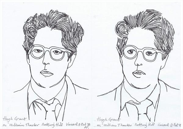 Drawing Project: Hugh Grant in film Notting Hill by Vincent da Vinci