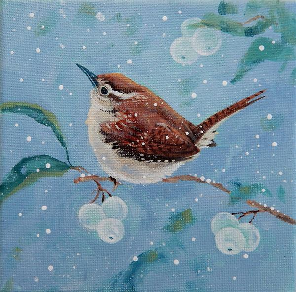 Wren and Snowberries by Denise Coble