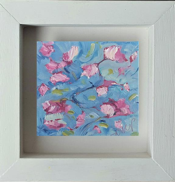 Apple blossom dance in the blue sky by niki purcell