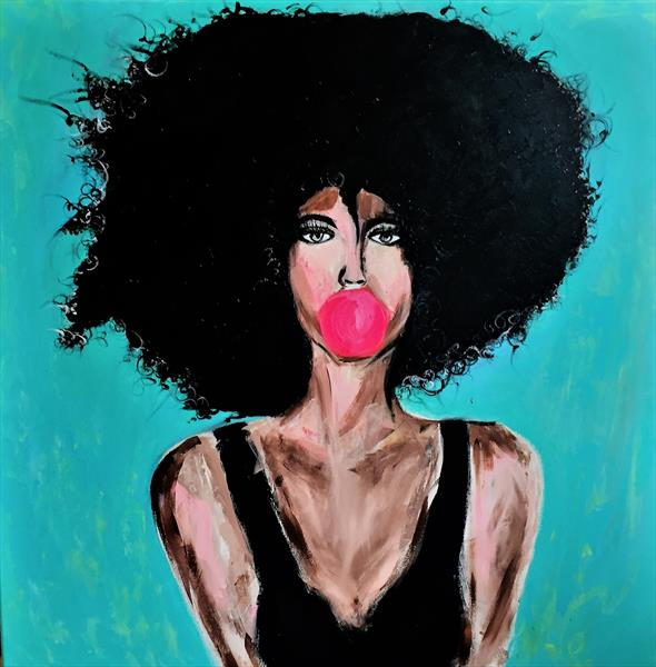 AFRO WOMEN WITH BUBBLE GUM by Anna Maria Ratusz