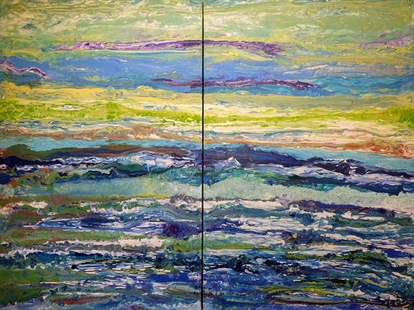 Vibrant Emerald Tones And Glittering Metallics (Very Large Contemporary Diptych) by Hester Coetzee