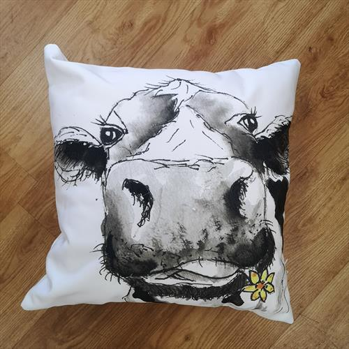 Camilla Moo, Cow Cotton Canvas Cushion by Eunice Friend