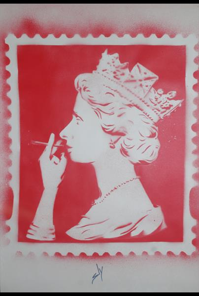 Spliff Queen (red) (On Plain Paper) by Juan Sly