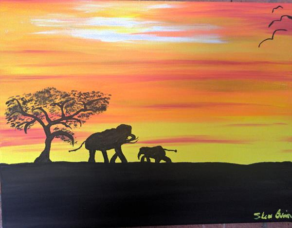 African Elephant at dusk by Forest Arts
