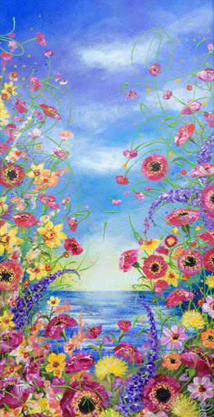 Pink Poppies by the Sea by Janice  Rogers