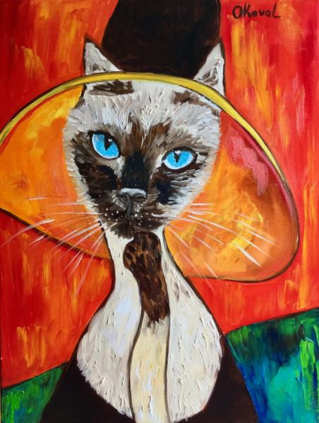 CAT IN A HAT, INSPIRED BY AMEDEO CLEMENTE MODIGLIANI by Olga  Koval