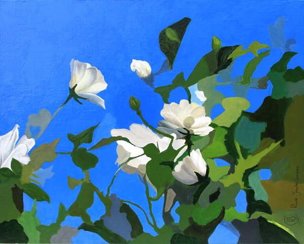 White Roses of York - Pontefract Gardens - semi abstract flowers in wabi sabi style by Rhia J Cooper