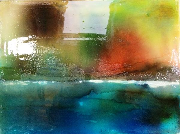 Northern Lights~ Glasslike finish on resin painting  by Maxine Martin